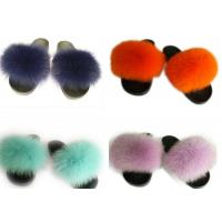 Quality Long Hair Fluffy Fox House Slippers Rubber Sole Soft Comfortable For Women wholesale