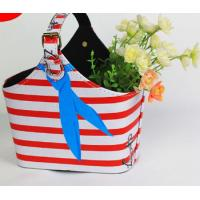 Quality Red White Stripe Design PU Leather Storage Basket Home Decoration Basket Bag for Flowers Women Handy Basket wholesale