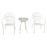 Quality Aluminium SGS Approval 440mm Width White Rattan End Table For Balcony wholesale