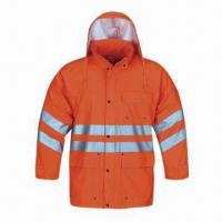 Buy cheap High-visibility Raincoat for Adult, Made of PU, EN471 Standard from wholesalers