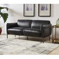 Quality Antique Slate Color Black Leather Two Seater Sofa Bed With Steel Frame Old Finishing wholesale