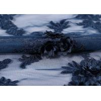 Quality Water - Soluble Mesh Lace Fabric 100% Polyester Embroidered With 3D Flowers wholesale
