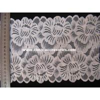 China 10 Inch V - Neckline Floral JacquardLace Fabric Trim With Spandex Mesh on sale