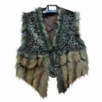 Quality Vest, made of plush/faux fur, 2 various materials matching, fur ball tie, OEM/ODM orders are welcome wholesale