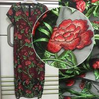 Quality 3D Rose Flower Embroidered Mesh Wedding Lace Fabric By The Yard For Women Dress wholesale