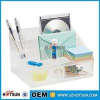 Cheap office clear acrylic desk organizer 2 tier 3 tier acrylic pen tray multi compartment for sale
