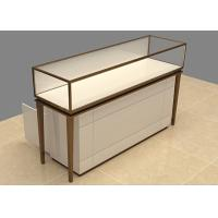 Quality Easy Install Custom Glass Display Cases Beige Wooden Stainless Steel Frame wholesale