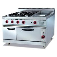 China Commercial Gas Range 4-Burner With Griddle and Bottom Oven Western Kitchen Equipment on sale