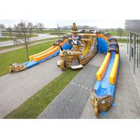 China Giant Inflatable Pirate Cove Ship With Two Lanes Slide For Children Entertainment on sale