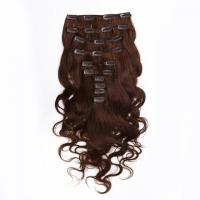 Quality Brown Clip in Human Hair Extensions Indian Virgin Remy Hair for Black Women Body Wave wholesale