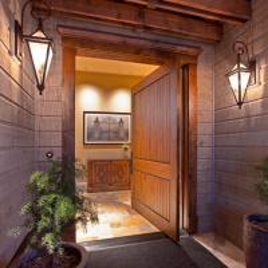 China Veneered Walnut Solid Oak Internal Doors Slab Single Swing With V Grooves on sale