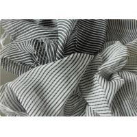 Quality Black And White Striped Polyester Fabric , Garment Curtain Elastic Polyester Fabric wholesale