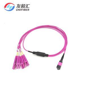 China Polarity B 1M 8 Fiber OM4 MPO To LC Duplex Breakout Cable on sale