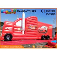 Quality Fun Truck Bounce House Inflatables Obstacle Course Red Fire Retardant wholesale
