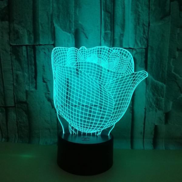 2019 Valentine's Day Rose 3D night Light custom flower picture LED Vision USB 3D Table Lamp