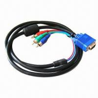 Quality 1.5m VGA to 3 RCA Cable, Can Connect VGA Output Device to High-definition Analog Video Applications wholesale