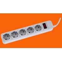 Buy cheap 5 ways black and grey PP Europe Extension socket with switch and Surge Protect from wholesalers