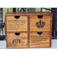 Quality Brown  High Glossy Finish Wooden box Storage Box with 4 Drawers bins desk organizer wholesale