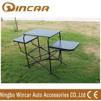 Quality PVC polyester Outdoor Camping Tables , Black / Sliver Portable Grill Barbecue Table wholesale