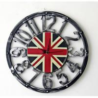 China Retro Vintage Large Clock UK British Flag Home Living Room Hollow Wall Clock Home Office Cafe Bar Wall Decoration on sale