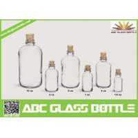 Quality 1/2oz 1oz 2oz 4oz 8oz 16oz Hot sale clear or frosted boston round glass bottle with Cork cap wholesale
