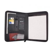Quality Business Zippered Padfolio w Calculator, Notepad Organizer Leatherette Black wholesale