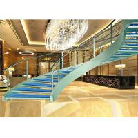 Quality various design curved wrought iron stair railings Prefabricated Steel Wood Staircase wholesale