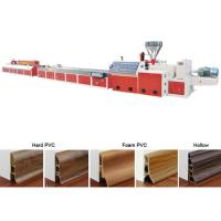 China Floor Baseboard PVC Profile Extrusion Line Skirting Board Manufacturing on sale