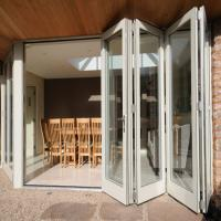 Quality Exterior Frameless Bifold Commercial Aluminum Glass Doors Folding Type With Hardware wholesale