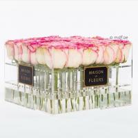 Quality Crystal Clear Acrylic Box with Lavender/red/pink Roses ,glowing flowers rose thick acrylic box with lid wholesale