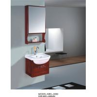 Quality 500 * 460mm wooden mirrored bathroom cabinet , round basin wooden hanging cabinet wholesale