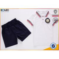 Quality Custom school uniform polo t shirts with stripe collar and cuff  for boys and girls wholesale