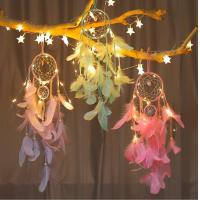 Cheap popular handmade indian dream catcher feather with led light home decoration for sale