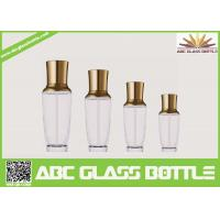 Quality Royal Design Series Empty Glass Cream Bottle With Pump And Golden Cap wholesale