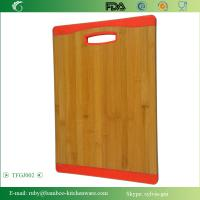 Cheap TFGJ002/ Non-Slip Red Color Silicone Edges Kitchen Bamboo Wooden Chopping Board Butcher Bl for sale