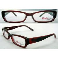 Quality Rectangular Red Hand Made Retro Acetate Optical Frame with Demo Lens wholesale