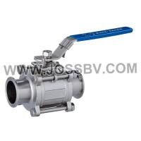 China Three-Piece Sanitary T-Clamp Ball Valve With ISO5211 Mounting Pad on sale