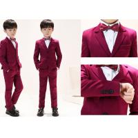 Quality Anti Shrink Boys Red Tuxedo / Breathable Baby Boy Ring Bearer Outfit wholesale