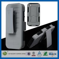 Dual Layer Holster Hard Iphone 5 Cases Grey High Impact with Kickstand