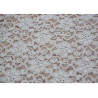 Quality Fashion Brushed White Lace Fabric Flower Shape , Stretchable 135cm Width CY-LQ0042 wholesale