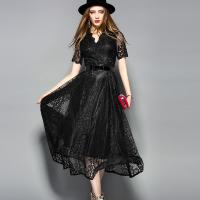 Quality Black wholesale  Belted Lace Dress for Women Clothing with zipper wholesale