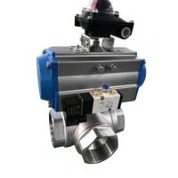 China Sanitary 3 Ways Ball Valve with Pneumatic Double Acting Actuator on sale