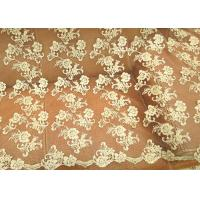 Quality Gold Retro Scalloped Corded Lace Fabric , Polyester Embroidered Floral Tulle Fabric wholesale