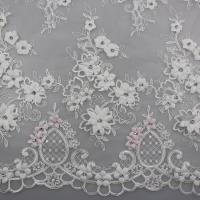China 3D Flower Beaded Lace Fabric , Embroidery Lace Tulle Fabric For Bridal Dresses on sale