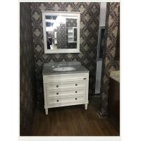 Quality Natural Marble Counter Top Bathroom Vanity White Flush Antique Sink Cabinets 100cm / 42 inch wholesale