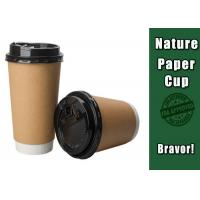 Quality Two Wall Brown Kraft Paper Coffee Cups Accurate Color With Flat / Dome Lids wholesale