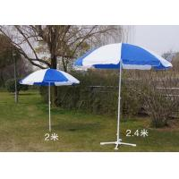 Quality Blue And White Outdoor Garden Umbrellas With Your Logo Printed , White Shaft wholesale