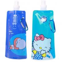 Quality Attachable Affordable Foldable Water Bottle , Colorful Silk Screen Soft Drink Spout Pouch wholesale