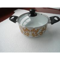 China 22cm Aluminum Non Stick Ceramic Coating Sauce Pot With Silk Painting on sale