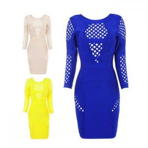 China High Quality New Trendy Celebrity Sexy Mesh Long Sleeve Popular Wholesale Bandage Dress on sale